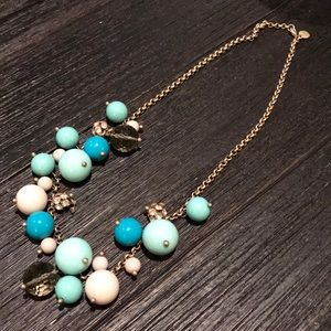 JCrew gold,  teal and white ball necklace